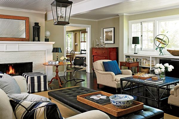 In the living room, Ralph Lauren club chairs face each other near the TV or - In The Living Room, Ralph Lauren Club Chairs Face Each Other Near