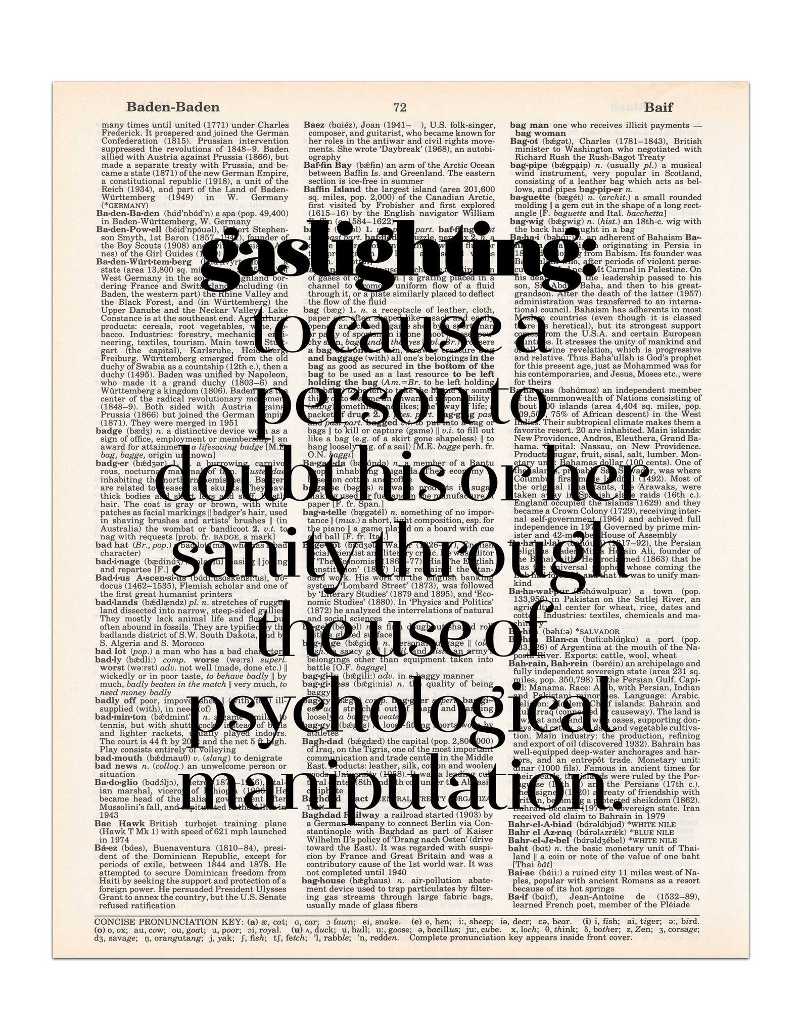The definition of  gaslighting  is to cause a person to doubt his or her sanity through the use of psychological manipulation. This definition is printed on ...  sc 1 st  Pinterest : definition of gas lighting - www.canuckmediamonitor.org