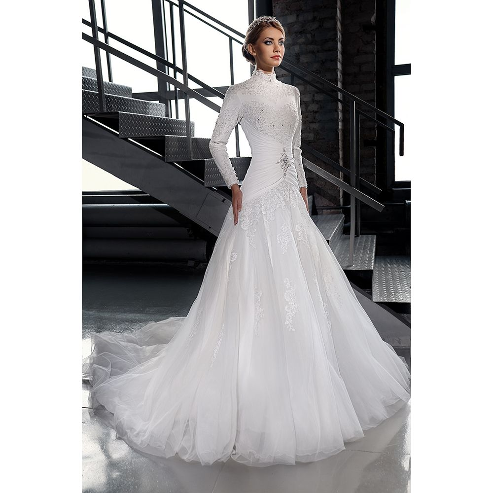 find a white tulle muslim wedding dresses beaded lace high neck