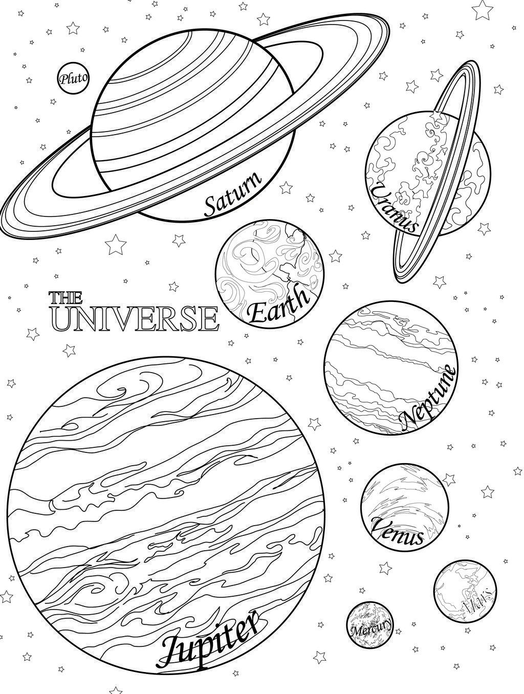 Planet Coloring Pages With The 9 Planets | Planet coloring page with ...