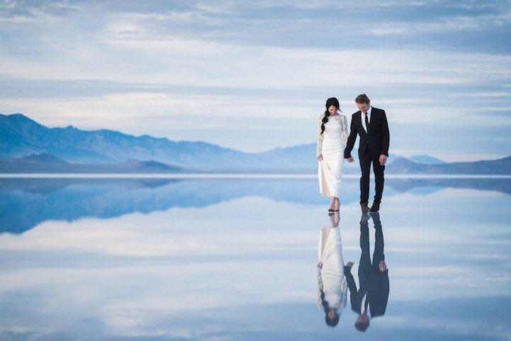 Beautifully Surreal Wedding Photos Show Couple Walking On Water Salt Lake City Wedding Beautiful Wedding Photography Photo