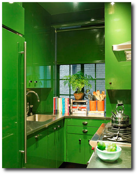 Lacquered Cabinets In High Gloss Green Paint