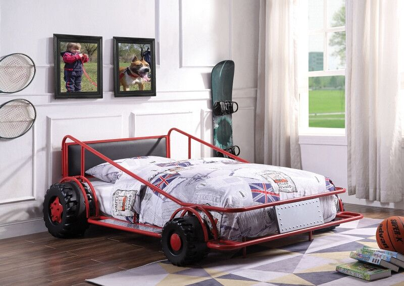 38070t Taban Racer Twin Size Race Car Bed With Tubular Red Metal