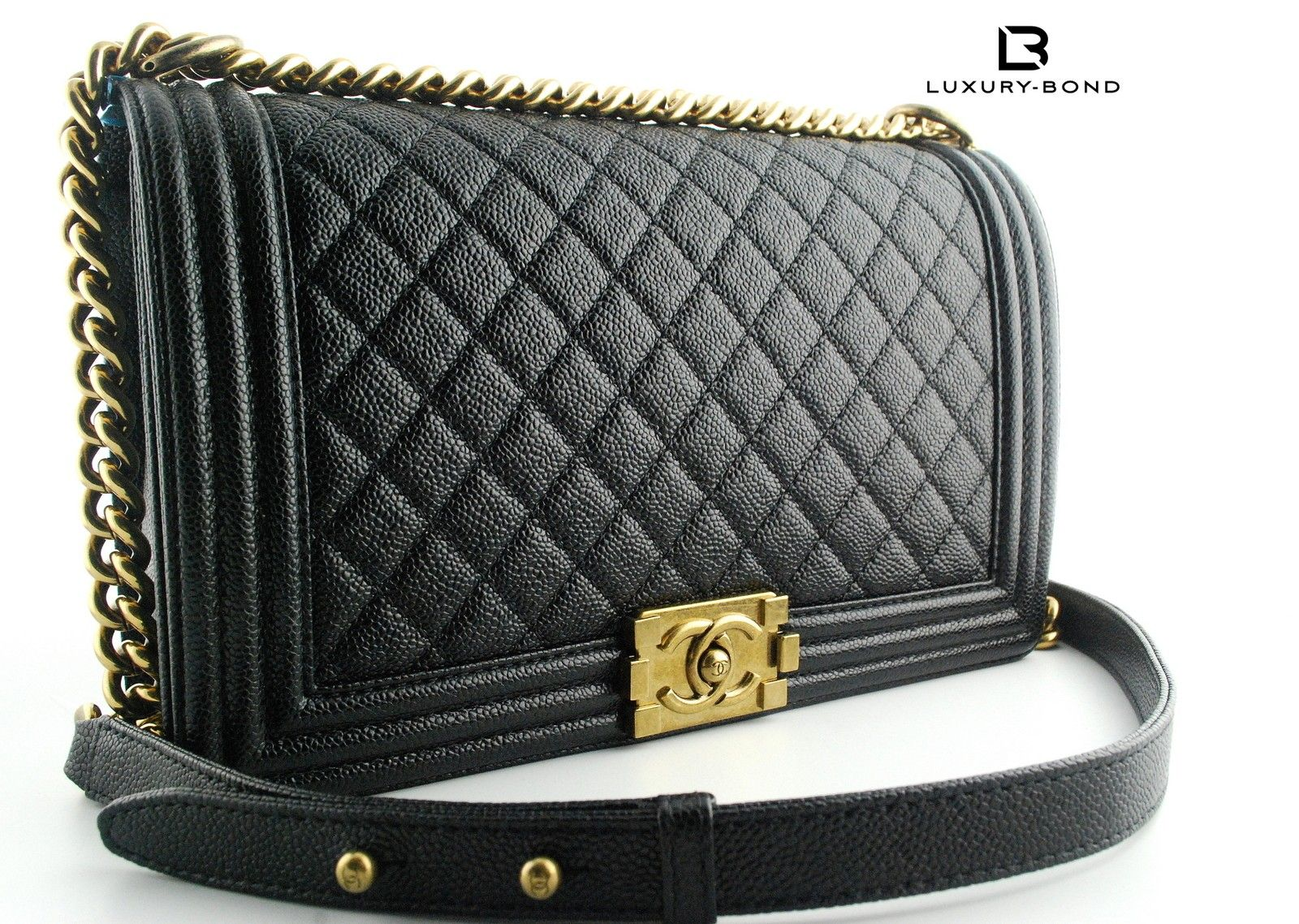 22c6be1146e Chanel Boy Black Caviar BRONZE GOLD HARDWARE New Medium Size