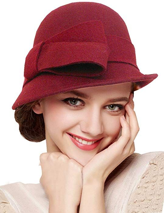 4e507e08c1a Bellady Women Solid Color Winter Hat Wool Cloche Bucket with Bow Accent