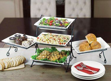 Three Tiered Buffet Server Includes Five Stoneware Platters Food And Drink Food Buffet Server