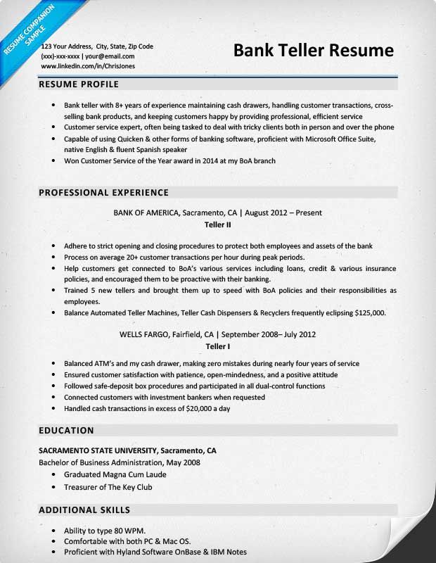bank teller resume sample amp writing tips companion banking - bank teller resume skills