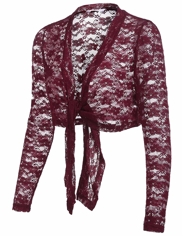 5f10d71270089 Women s Long Sleeve Lace Bolero Shrug Tie Front Cropped Open ...
