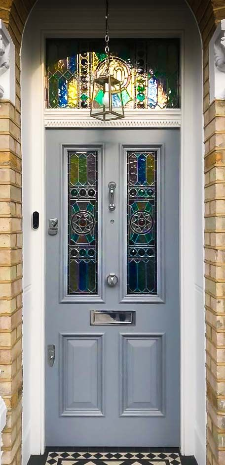 Victorian Style Front Door With Stained Glass and Chrome Ironmongery  #victorianfrontdoors
