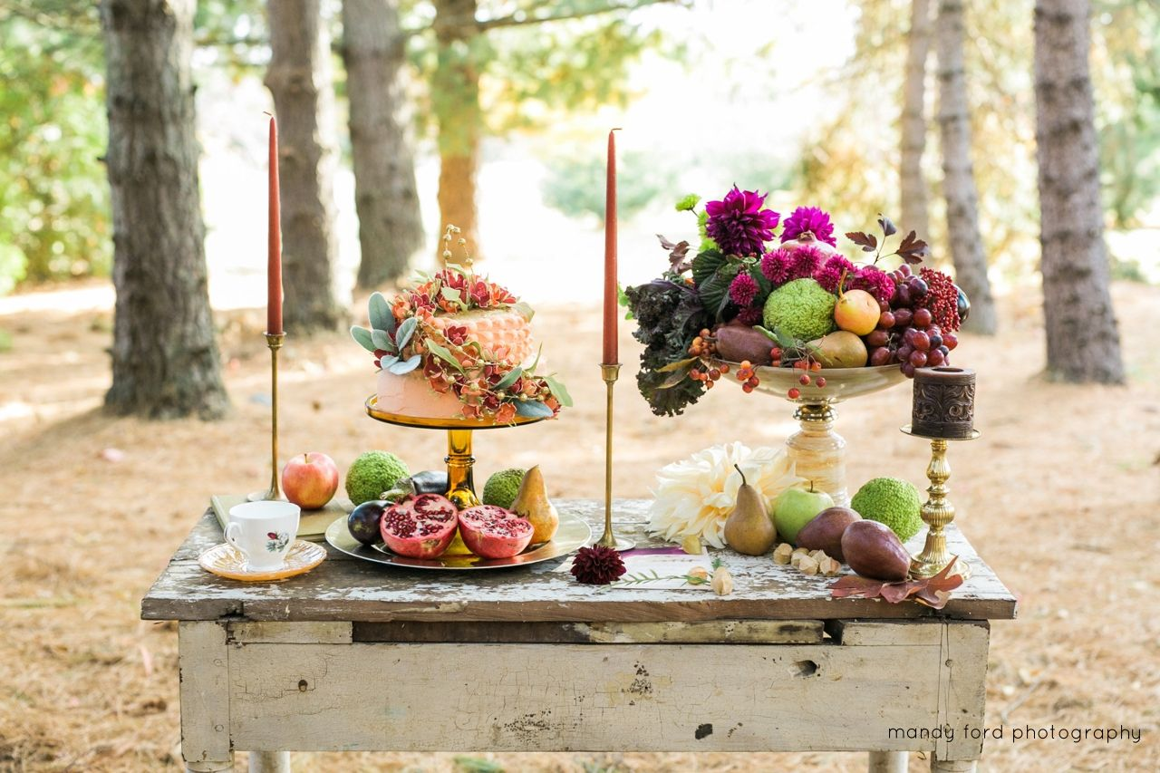 Sweetheart table with fall flowers and fruit. Buckeye Blooms   Mandy Ford Photography