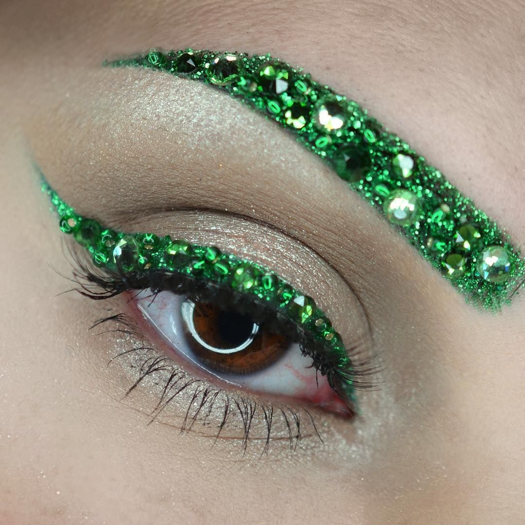 Emerald green glitter and crystal eyebrow and eyeliner by
