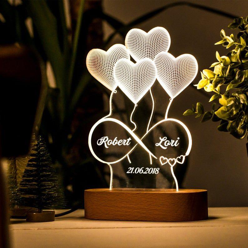 Cadeau Personnalise De Lampe 3d Dillusion Pour Elle Cadeau Etsy 3d Illusion Lamp Valentine Gifts Valentines Gifts For Her