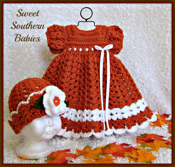 Baby Girl\'s Thanksgiving Dress with Matching Cloche - Newborn to 18 ...