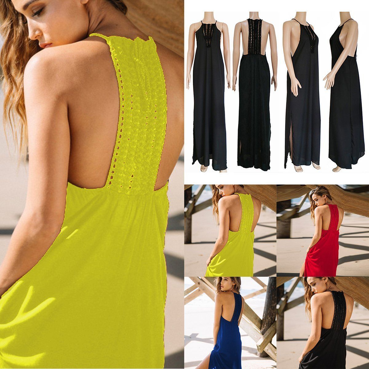Summer wommen beach vacation bohemia backless hollow out long maxi