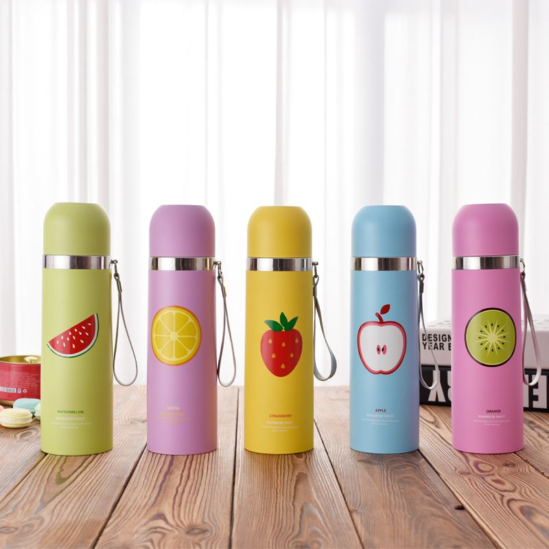 Stainless Water Bottle Portable Straw Cup Travel Drink Printing UK