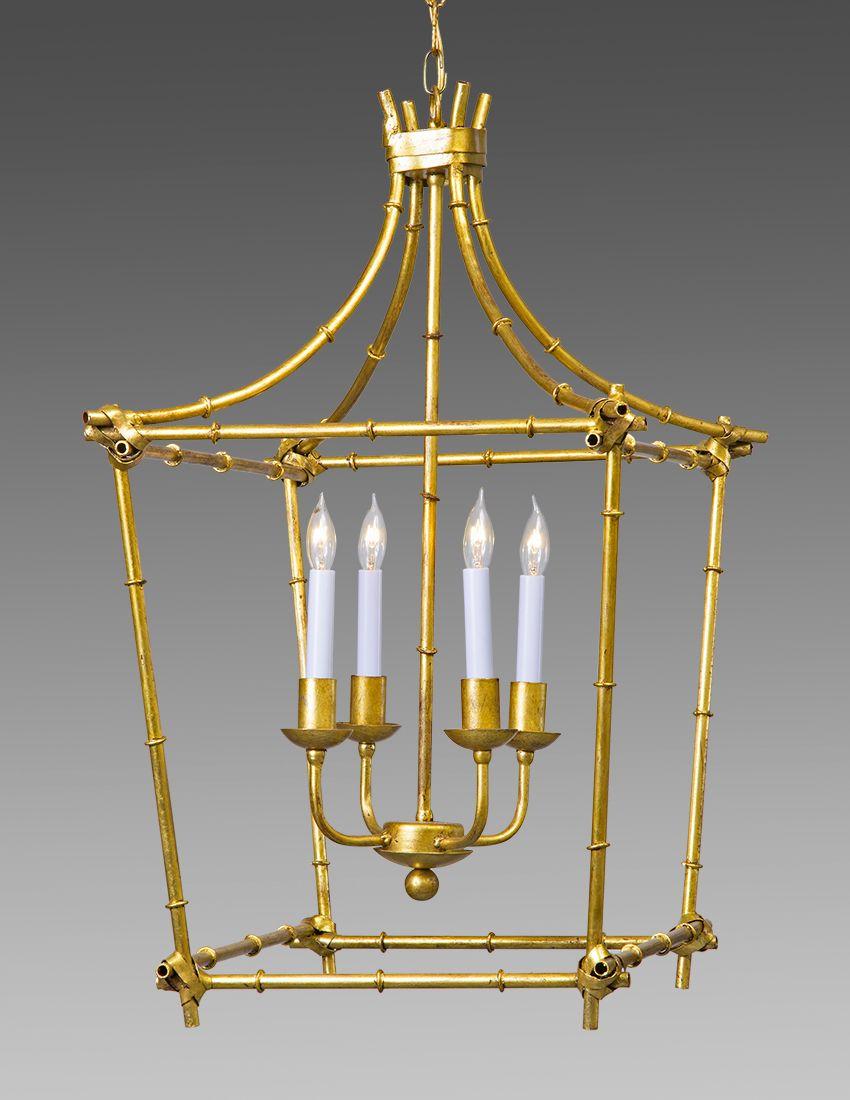 Metal Bamboo style drop four light lantern. Shown in standard antiqued gold  metal leaf finish