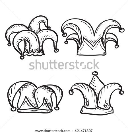 Artistic Hand Drawn Set Of Joker Jester Hats Ink Drawing
