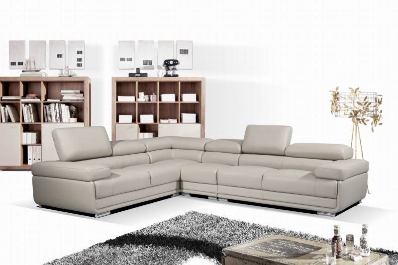 Nm Victoria Grey Grey Leather Sectional Modern Sofa Sectional