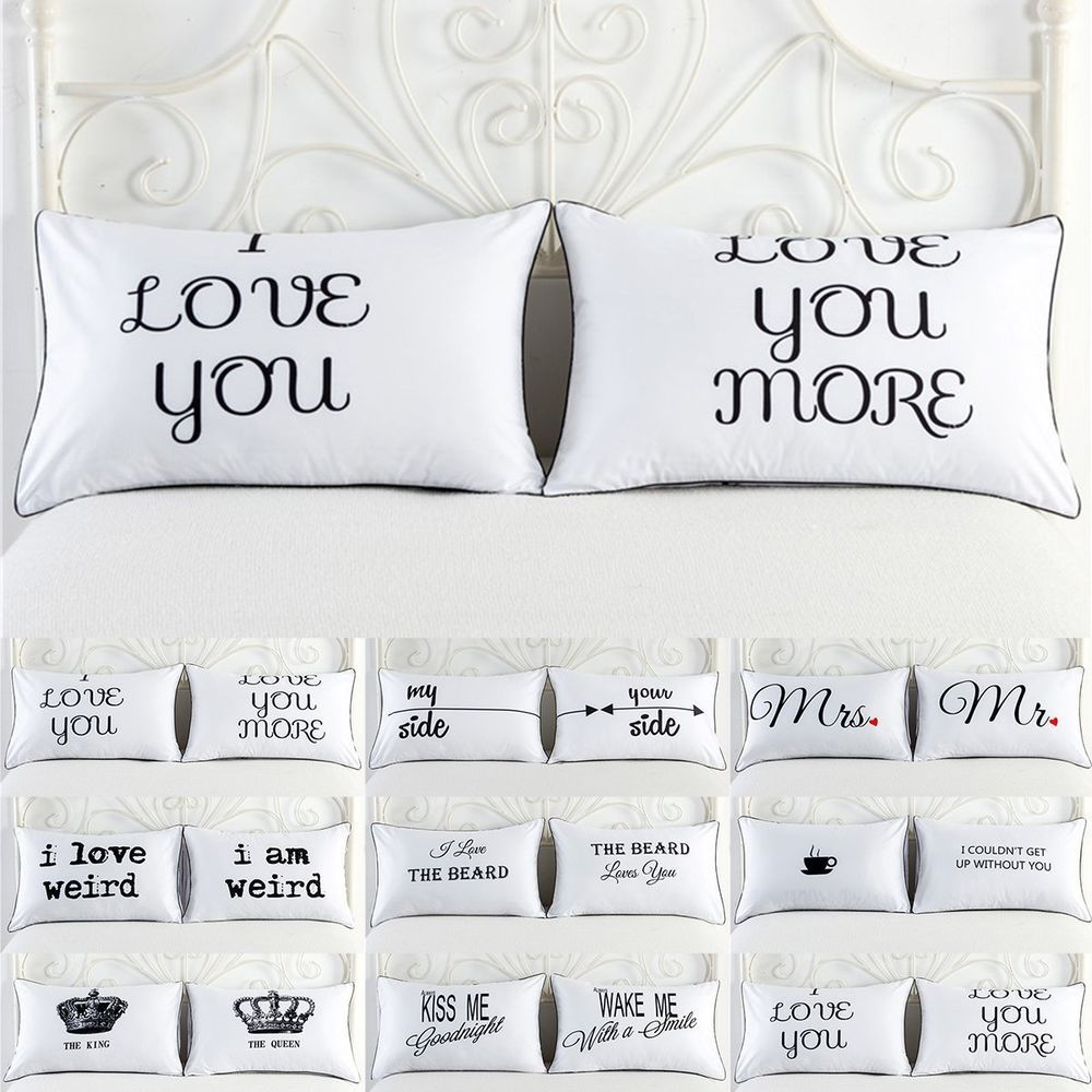 2PCS White Cotton Home Hotel Decor Standard Pillow Cases Bed Throw Cushion Cover #Unbranded #Funny