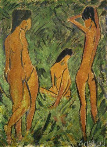Otto Mueller - Knabe vor zwei stehenden und einem sitze