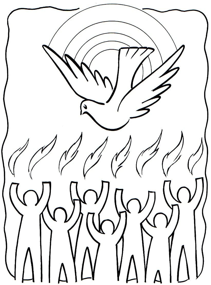 Tongues Of Fire Coloring Pages | Holy Spirit / Pentecost Coloring ...