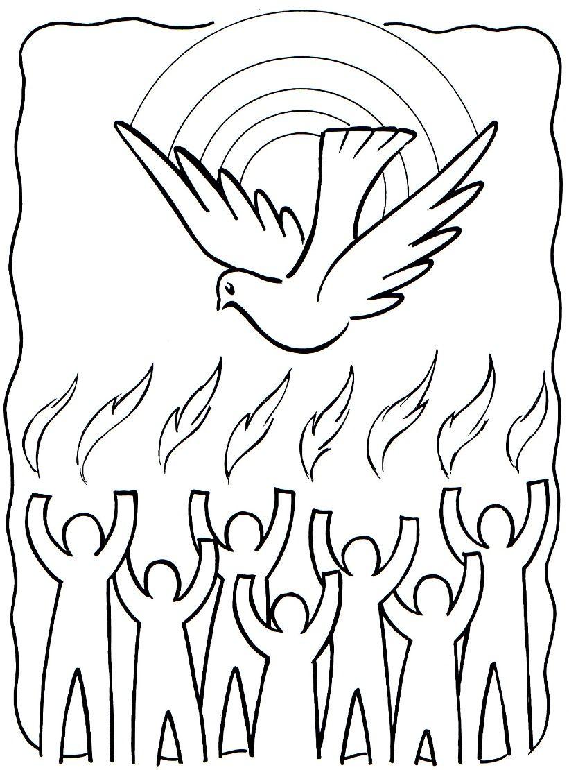 Pentecost Biblekid Eu Pentecost Sunday School Coloring Pages Holy Spirit Craft