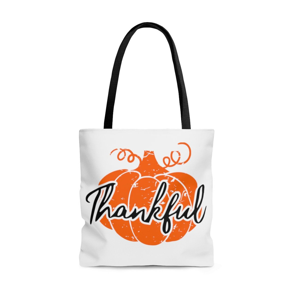 Thanksgiving tote, AOP Tote Bag, Thankful tote, Hand drawn Distressed Pumpkin, Thanksgiving Bags, thanksgiving gift for Teacher