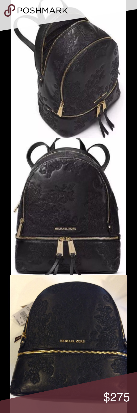 50024c7ba513 FINAL MARKDOWN Michael Kors Rhea Backpack Beautiful all leather with embroidered  lace. Medium size backpack