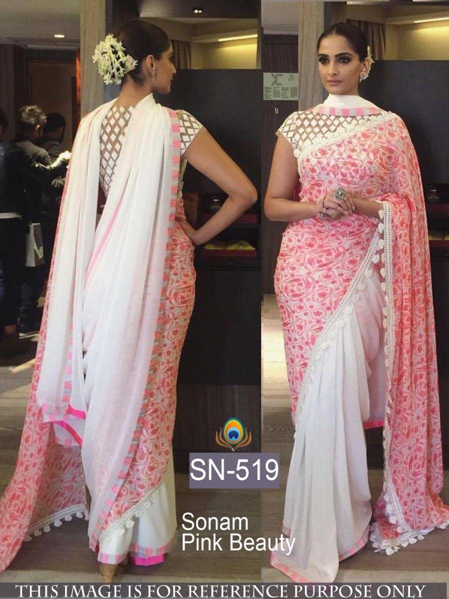 fa8b85c0ce6ee2 Sonam Kapoor Georgette Machine Work Cream & Pink Bollywood Designer Saree-  SN519