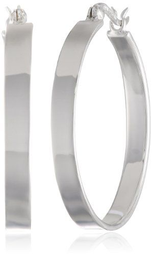 Sterling Silver 4x30 Flat Clicktop Hoop Earrings -- Want to know more, click on the image.