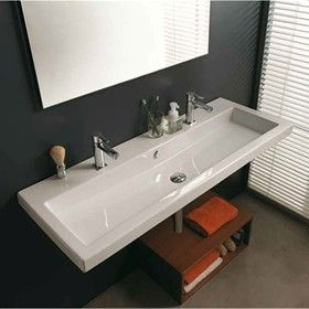 Double Faucet Trough Style Sink Cangas Double Wall Hung Sink