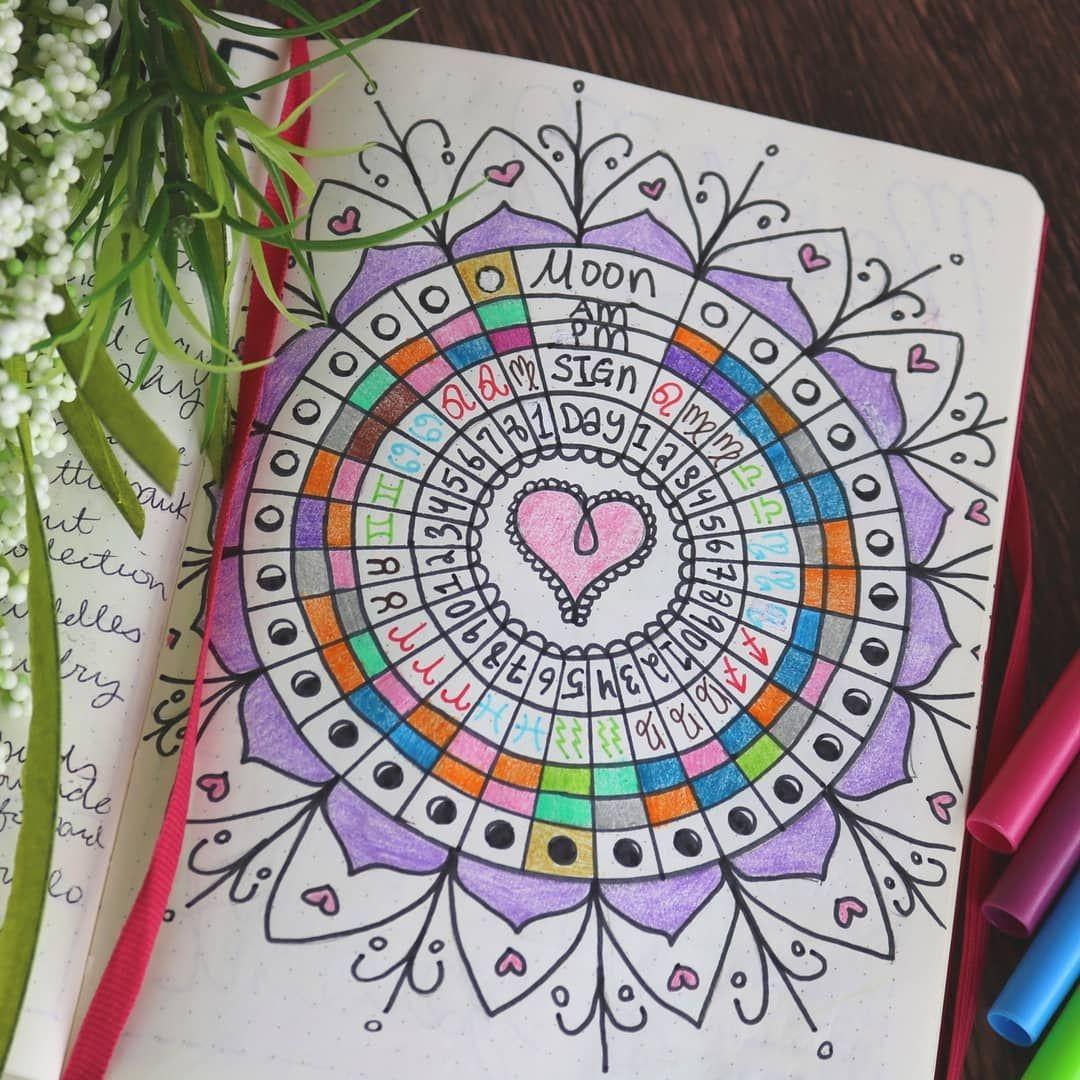 Spirit Inspo Bullet Journal Mood Moon Mandala With