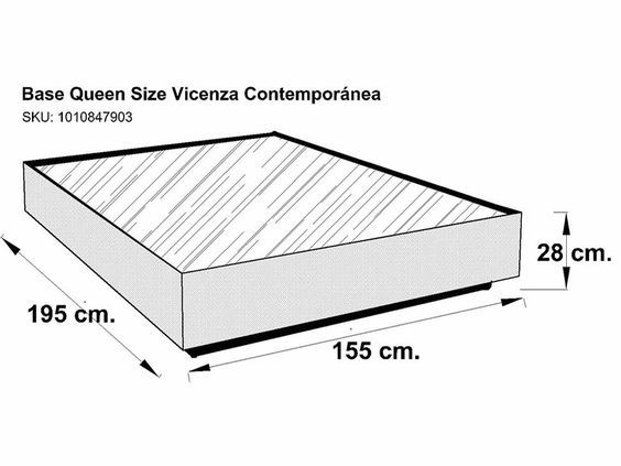 4 base de cama queen size contempor nea chocolate vicenza for Medidas de base de cama matrimonial