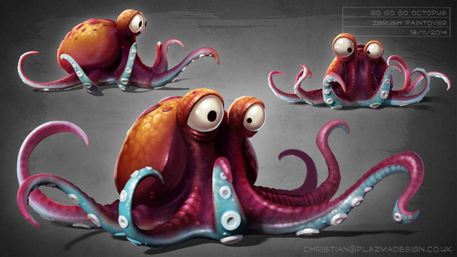 Днем знаний, смешной осьминог рисунок