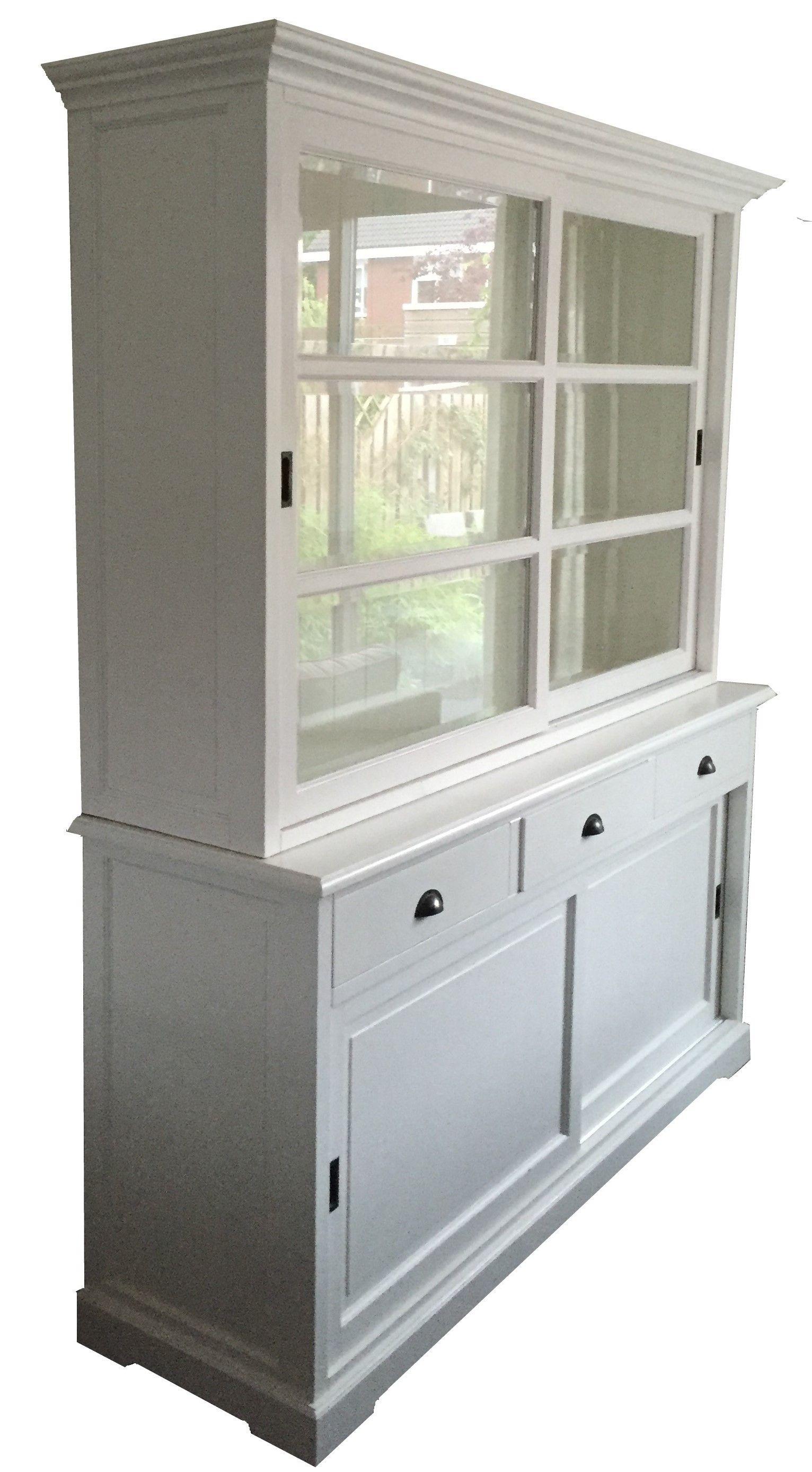 Winkelkast Met Schuifdeuren.Mooie White Wash Buffetkast Met Schuifdeuren Leverbaar In 160cm
