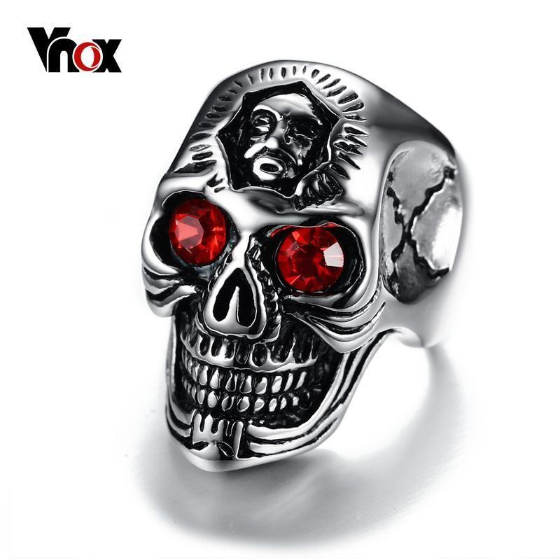 771285e0899a Vnox Mens Skull Ring Stainless Steel biker Skeleton Rings for Men Jewelry