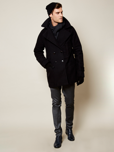 Preorder The Classic VAUTE Peacoat in Black on Him