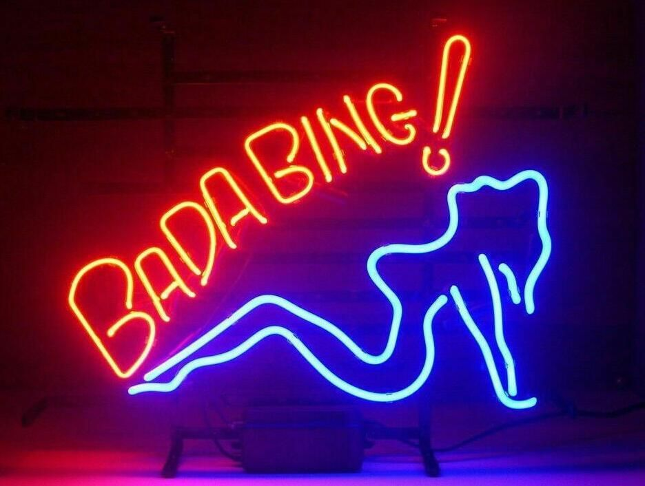 Custom Made Bada Bing Girl Glass Neon Light Sign Beer Bar