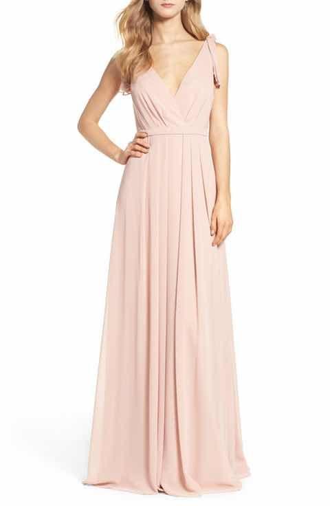 Monique Lhuillier Bridesmaids Sleeveless Deep V Neck Chiffon Gown Nordstrom Exclusive