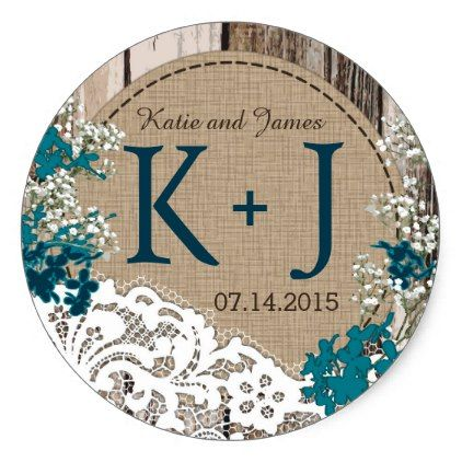 #country - #Baby's Breath Lace Rustic Monogram Wedding Label
