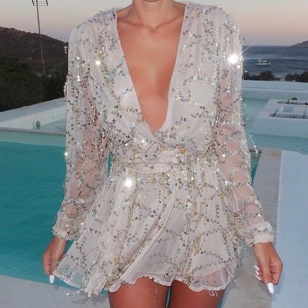 new year's eve bedazzled dope romper style sparkly dress sparkles sequin dress Sequin shorts open back prom dress open front gold gold sequins silver dress fashion