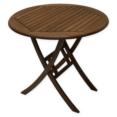 Outdoor Interiors Eucalyptus 30 Bistro Table In Brown Umber