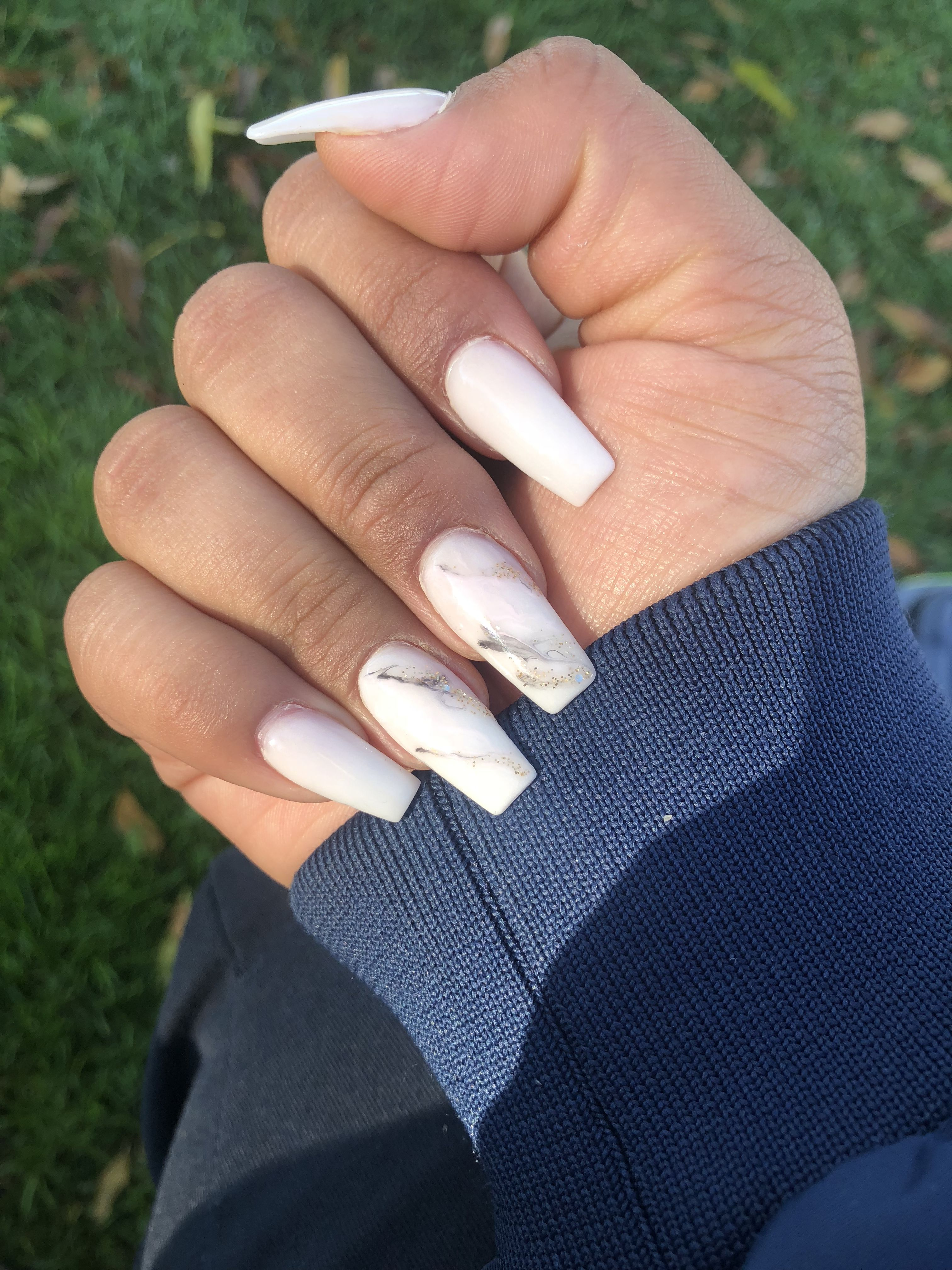 White Marble Coffin Nails White Acrylic Nails Best Acrylic Nails Nails