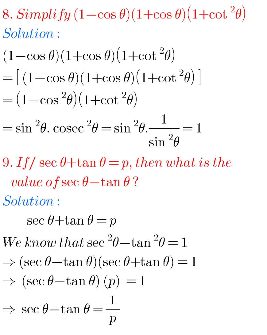 small resolution of SSC mathematics Trigonometry solutions class 10 - Maths Glow   Math word  problems