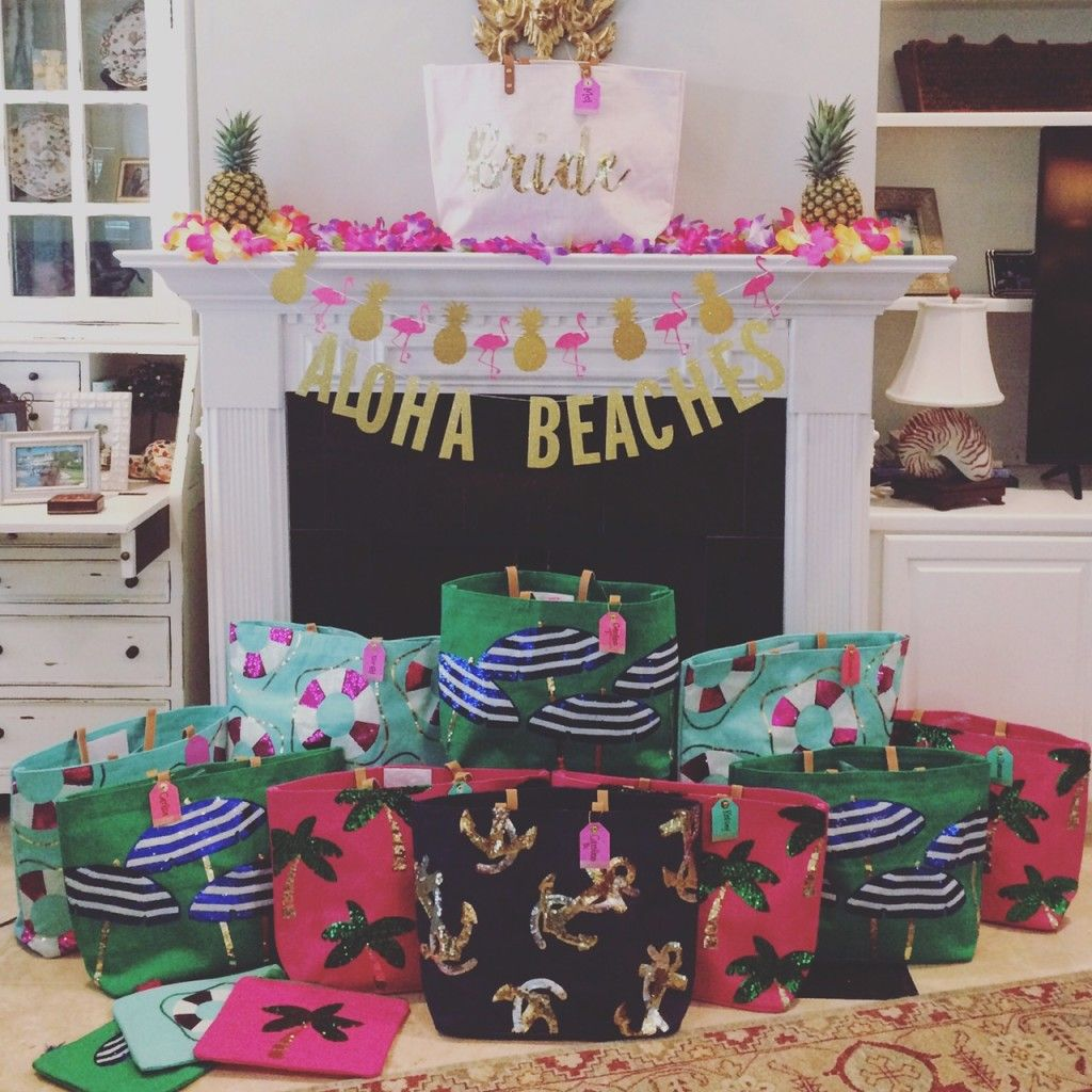 1bb0e0847f18 Such a cute Beach themed Bachelorette Party! Love the bride tote and  umbrella palm tree sequined totes as party favors!