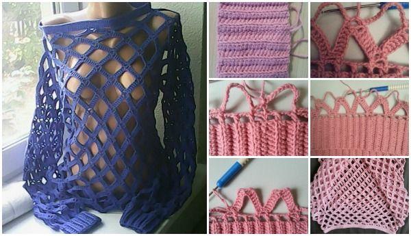 1a911465d81b Crochet Net Tunic Sweater Free Pattern (Video)