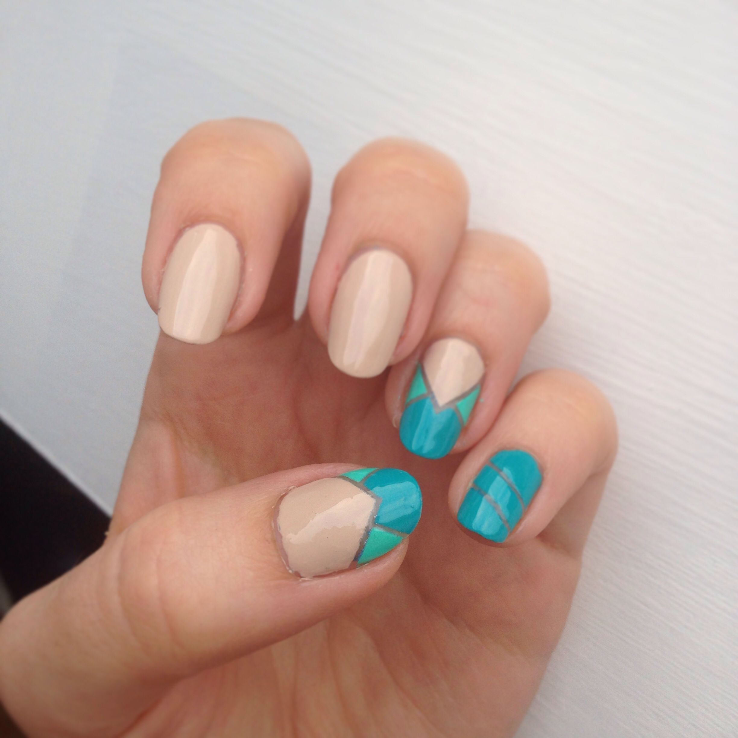 New nails design #nails nude turquoise | Nails | Pinterest