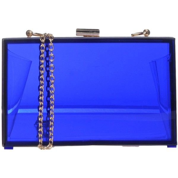 Oui, Odile! Handbag featuring polyvore fashion bags handbags blue transparent handbag blue bag see through purse transparent purse lucite purse