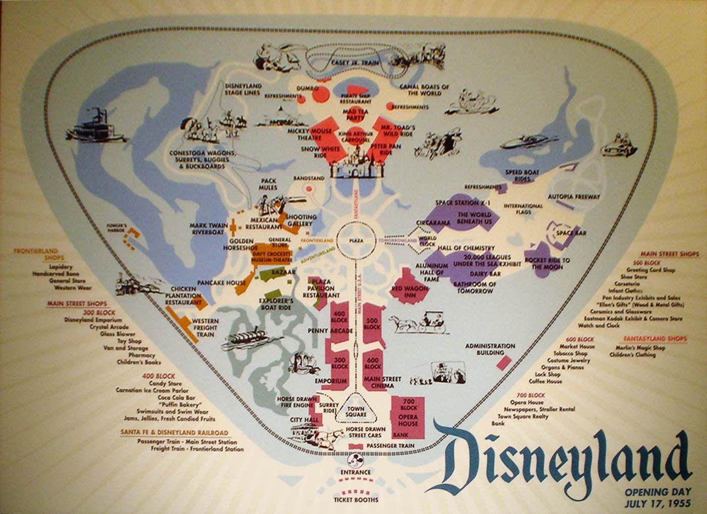 Disneyland Opening Day Map