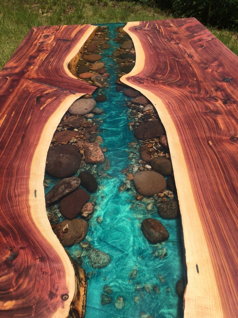 Cedar live edge river dining table with stone resin etsy